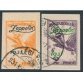 HUNGARY - 1931 1P orange & 2P violet Turul airmail overprinted Zeppelin, used – Michel # 478-479
