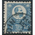 HUNGARY - 1871 10Kr blue Emperor Franz Josef (engraved), used – Michel # 11a