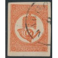 HUNGARY - 1871 1Kr red Newspaper Stamp (horn faces left), used – Michel # 7a
