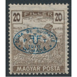 HUNGARY - 1919 20f brown Harvester with Debrecen overprint, MNH – Michel # 20