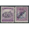 HUNGARY - 1919 15f violet Harvester & 50f purple Zita, Debrecen overprint, MH – Michel # 19a + 26