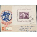 HUNGARY - 1950 2Ft deep violet Stamp Day M/S, used – Michel # Block 19
