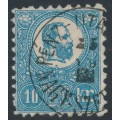 HUNGARY - 1871 10Kr blue Emperor Franz Josef (lithographed), used – Michel # 4a