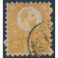 HUNGARY - 1871 2Kr orange Emperor Franz Josef (engraved printing), used – Michel # 8a