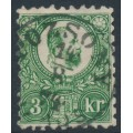 HUNGARY - 1871 3Kr green Emperor Franz Josef (engraved printing), used – Michel # 9a