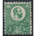 HUNGARY - 1871 3Kr blue-green Emperor Franz Josef (engraved printing), used – Michel # 9b