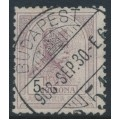 HUNGARY - 1904 5Kr brown-purple/black Emperor, perf. 12:11½, crown watermark, used – Michel # 89A