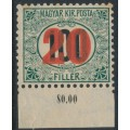 HUNGARY - 1915 20f on 100f green/black Postage Due, crown watermark, MH – Michel # P35