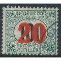 HUNGARY - 1915 20f on 100f green/black Postage Due, crown watermark, used – Michel # P35