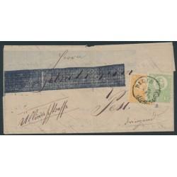 HUNGARY - 1871 2Kr orange + 3Kr green Emperor (lithographed), on folded letter – Michel # 1a + 2