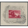 HUNGARY - 1948 2Ft+18Ft carmine Chain Bridge Reconstruction M/S, used – Michel # Block 12