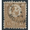 HUNGARY - 1871 15Kr brown Emperor Franz Josef (lithographed), used – Michel # 5a
