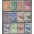 HUNGARY - 1927-1929 Turul Airmail set of 12, used – Michel # 430-437 + 467-470