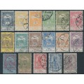 HUNGARY - 1913 Flood Relief set of 17, used – Michel # 128-144