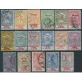 HUNGARY - 1914 Flood Relief set of 17 with War Relief overprints, used – Michel # 145-161