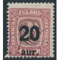 ICELAND - 1922 20aur overprint on 40a purple Two Kings, used – Facit # 106