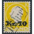 ICELAND - 1924 10Kr overprint on 1Kr yellow King Frederik VIII, used – Facit # 123