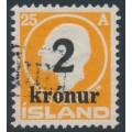 ICELAND - 1926 2Kr overprint on 25a orange Jón Sigurðsson, used – Facit # 121