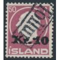 ICELAND - 1925 10Kr overprint on 50a purple-red King Frederik VIII, used – Facit # 122