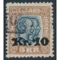 ICELAND - 1930 10Kr overprint on 5Kr brown/black-blue Two Kings, used – Facit # 107