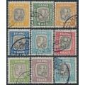 ICELAND - 1907-1918 3a to 50a Two Kings ÞJÓNUSTU (Officials) set of 9, used – Facit # TJ26-TJ32