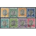 ICELAND - 1920 3a to 1Kr King Christian X ÞJÓNUSTU (Officials) set of 8, used – Facit # TJ42-TJ47 + TJ49-TJ50