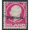 ICELAND - 1922 2Kr rose King Frederik VIII overprinted Þjónusta (Official), used – Facit # TJ53I