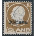 ICELAND - 1922 5Kr brown King Frederik VIII overprinted Þjónusta. (Official), used – Facit # TJ54