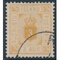 ICELAND - 1882 3a ochre Numeral, perf. 14:13½, ÞJÓNUSTU (Official), used – Facit # TJ4b