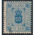ICELAND - 1876 10a dull blue Numeral, perf. 14:13½, ÞJÓNUSTU (Official), used – Facit # TJ6b