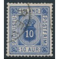 ICELAND - 1876 10a ultramarine Numeral, perf. 14:13½, ÞJÓNUSTU (Official), used – Facit # TJ6a