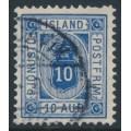 ICELAND - 1895 10a ultramarine Numeral, perf. 12¾, ÞJÓNUSTU (Official), used – Facit # TJ13
