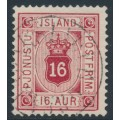 ICELAND - 1876 16a carmine Numeral, perf. 14:13½, ÞJÓNUSTU (Official), used – Facit # TJ7