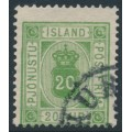 ICELAND - 1876 20a yellow-green Numeral, perf. 14:13½, ÞJÓNUSTU (Official), used – Facit # TJ8c