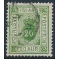ICELAND - 1876 20a green Numeral, perf. 14:13½, ÞJÓNUSTU (Official), used – Facit # TJ8b