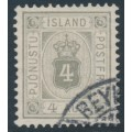 ICELAND - 1900 4a grey Numeral, perf. 12¾, ÞJÓNUSTU (Official), used – Facit # TJ11