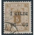 ICELAND - 1902 5a brown Numeral, perf. 14:13½, Þjónustu overprinted Í GILDI, used – Facit # TJ16b