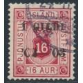 ICELAND - 1902 16a carmine Numeral, perf. 14:13½, Þjónustu overprinted Í GILDI, used – Facit # TJ18b