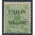 ICELAND - 1902 20a green Numeral, perf. 14:13½, Þjónustu overprinted Í GILDI, used – Facit # TJ19