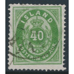ICELAND - 1876 40a green Numeral, perf. 14:13½, used – Facit # 16