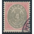 ICELAND - 1900 4a red/grey Numeral, perf. 12¾, used – Facit # 22