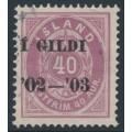 ICELAND - 1902 40a purple Numeral, perf. 14:13½, overprinted Í GILDI '02-'03, used – Facit # 42