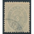 ICELAND - 1873 3Skilling grey Numeral, perf. 12½, used – Facit # 5