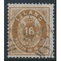 ICELAND - 1876 16a brown Numeral, perf. 14:13½, used – Facit # 13c