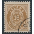 ICELAND - 1896 16a brown Numeral, perf. 12¾, used – Facit # 27