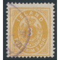 ICELAND - 1897 3a orange-yellow Numeral (small 3), perf. 12¾, used – Facit # 20