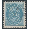 ICELAND - 1896 20a blue Numeral, perf. 12¾, used – Facit # 28b