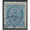 ICELAND - 1896 20a ultramarine Numeral, perf. 12¾, used – Facit # 28a