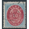 ICELAND - 1892 50a blue/red Numeral, perf. 14:13½, used – Facit # 18