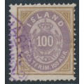ICELAND - 1892 100a brown/purple Numeral, perf. 14:13½, used – Facit # 19